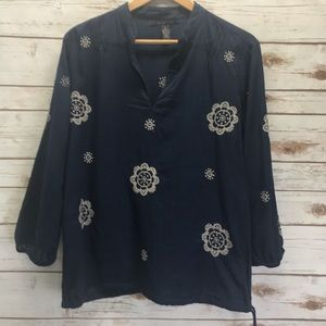 Lucky Brand Navy Blue Long sleeve top